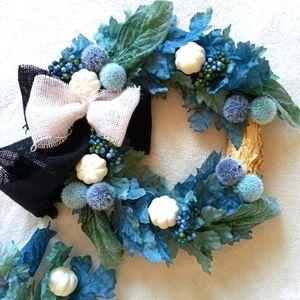 "Fall Blue & Teal Maple Leaf Wreath 12"" Farmhouse"